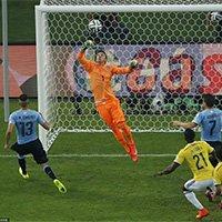 乌拉圭门将穆斯莱拉门前救险