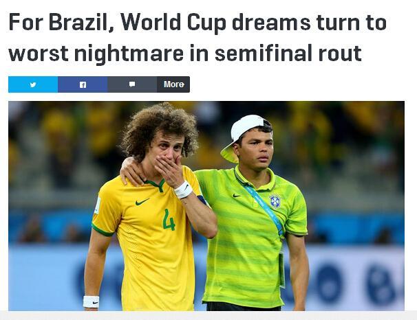 《体育画报》:巴西毫无民族骨气的缴械投降