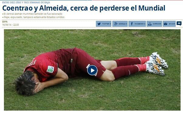 惨烈!葡萄牙2将恐伤别小组赛 巴西征程结束?