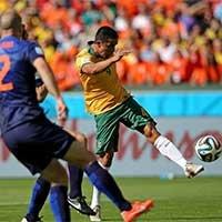 澳大利亚卡希尔凌空抽射破门扳平比分