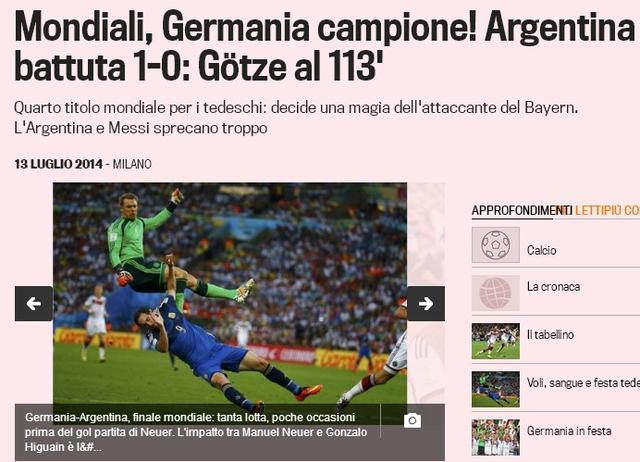 《米兰体育报》:德国三大法宝强过阿根廷