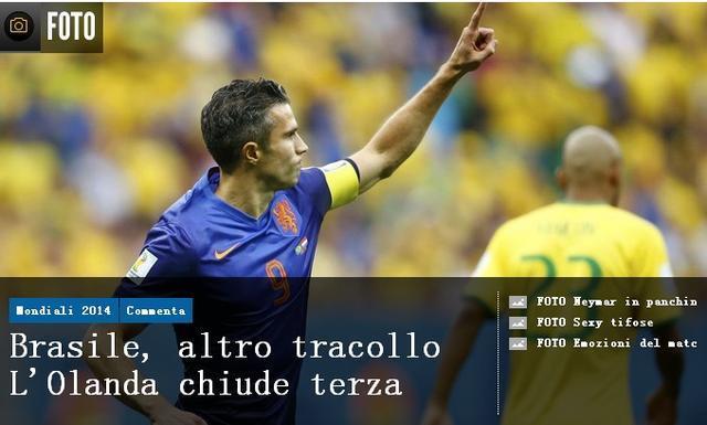 《米兰体育报》:2战暴露巴西水平 罗本最佳