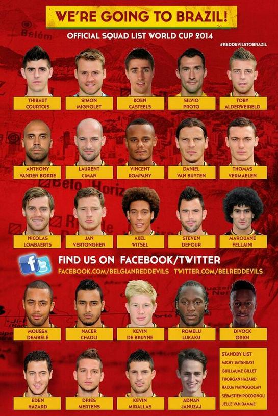 比利时公布世界杯大名单 阿扎尔领衔群星入围