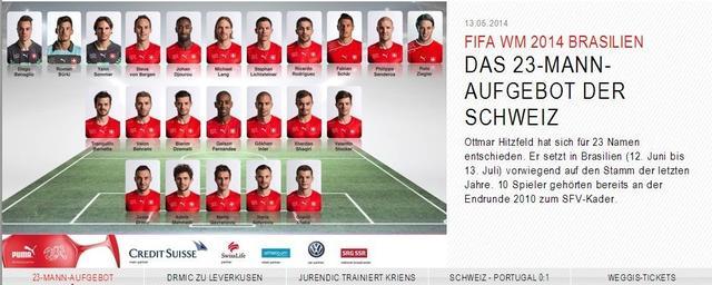 瑞士公布世界杯30人大名单 拜仁妖星领衔入列