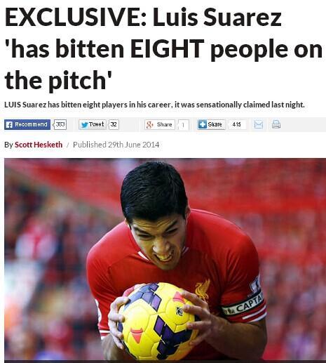 英媒曝FIFA重罚苏神真因 职业生涯竟八次咬人