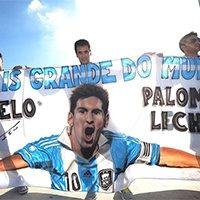 疯狂阿根廷球迷展示巨幅梅西海报