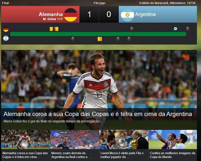 《雅虎巴西》:德国黄袍加身 阿根廷重复背运
