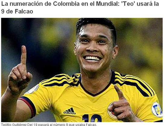 哥伦比亚公布世界杯号码 河床锋霸改老虎9号