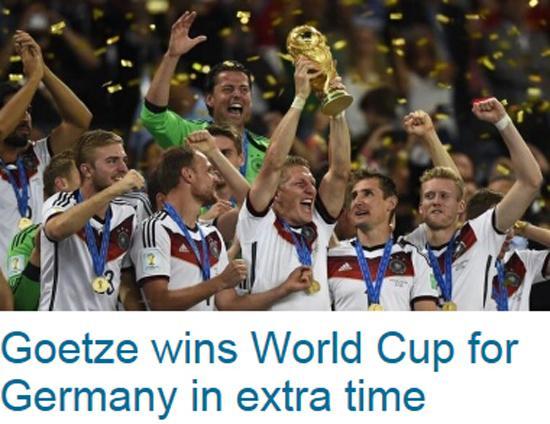 路透社:格策为德国带来冠军 梅西伤心落泪