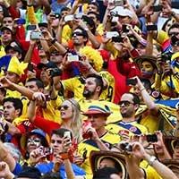 哥伦比亚球迷填满整个巴西利亚国家体育场