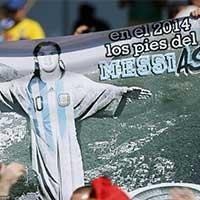 阿根廷球迷制作特色梅西海报创意十足