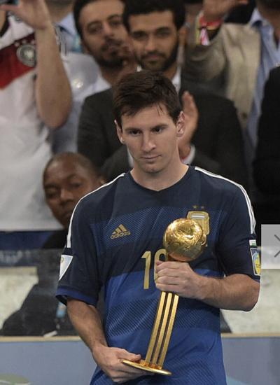 巴西世界杯奖项:金球奖梅西 J罗6球穿走金靴