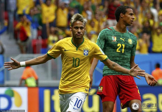 世界杯-内马尔2球巴西4-1喀麦隆 下轮战智利