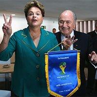 """高清:巴西总统与布拉特合影比""""V""""手势"""