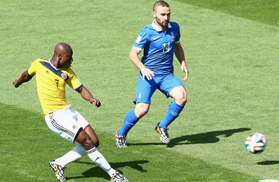 评分:哥伦比亚进球功臣抢眼 希腊整体低迷