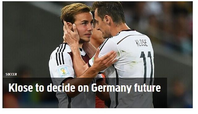 克洛泽亲承一周内定去留 或结束德国国脚生涯