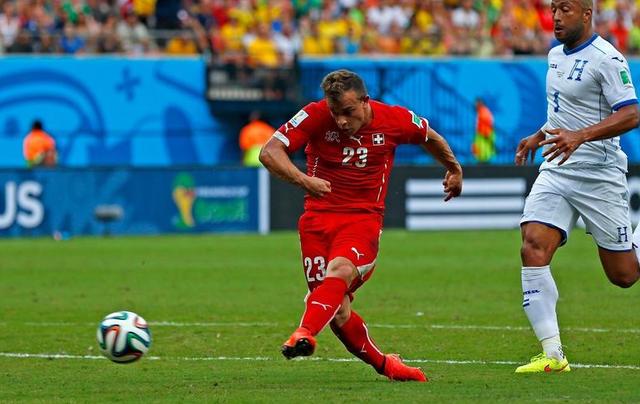 半场-瑞士2-0领先洪都拉斯 沙奇里梅开二度