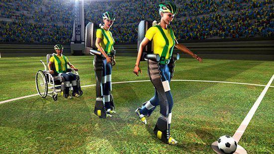 """巴西截瘫青年为世界杯开球 身着脑控""""机器衣"""""""