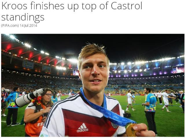克罗斯冠绝FIFA最佳球员榜 金球梅西未入前十