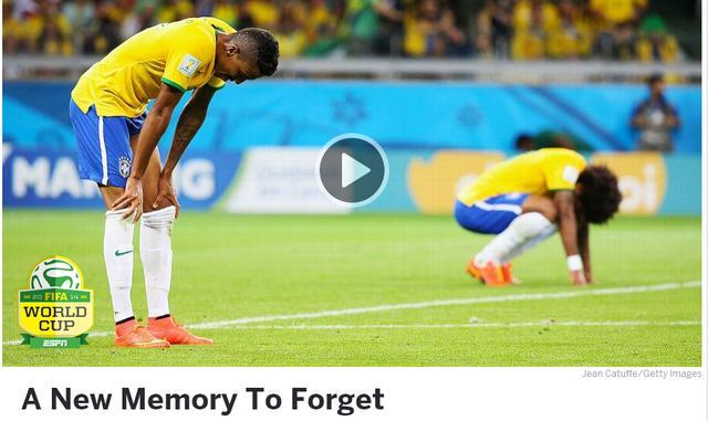 ESPN:巴西用更惨痛的失败抹去64年前伤疤