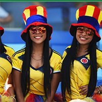装扮奇特的哥伦比亚球迷