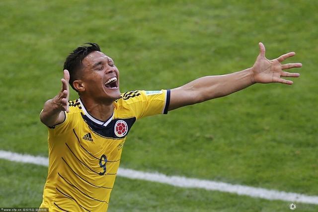 世界杯-哥伦比亚3-0轻取希腊 古铁雷斯破门