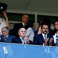 FIFA主席布拉特亮相巴西利亚 助威瑞士