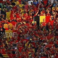 比利时球迷将看台装扮成红色海洋