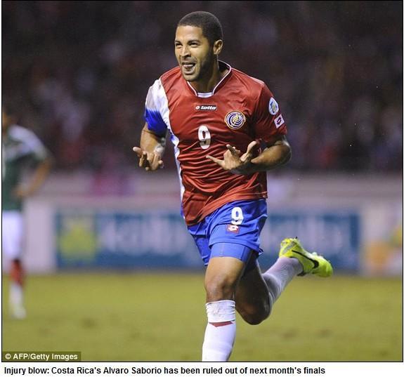 哥斯达黎加头号射手受伤 确定无缘巴西世界杯