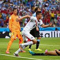 哥斯达黎加杜阿尔泰进球后奔跑庆祝