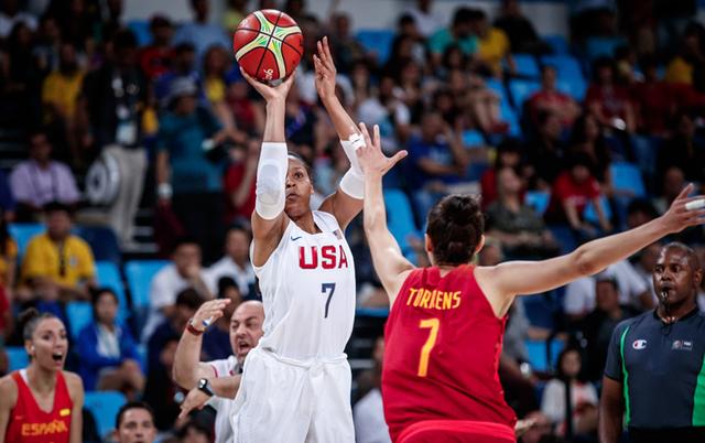 美国女篮5人上双胜西班牙 获奥运历史第八金