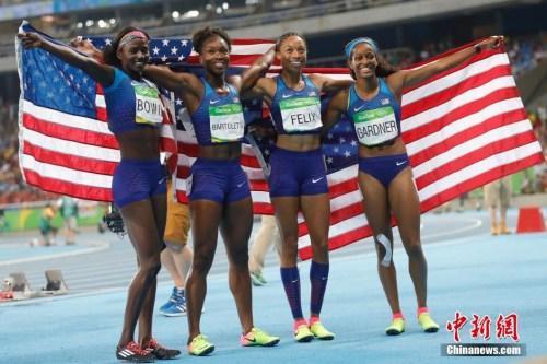 美国名将摘奥运田径第5金 接力重赛一度惹争议