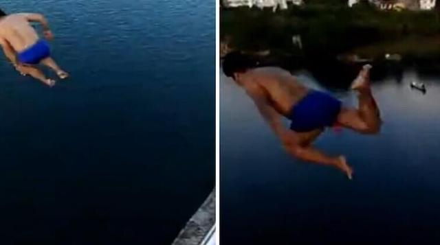 25米天桥跳水少年引外媒劝诫:跳前要三思呀!