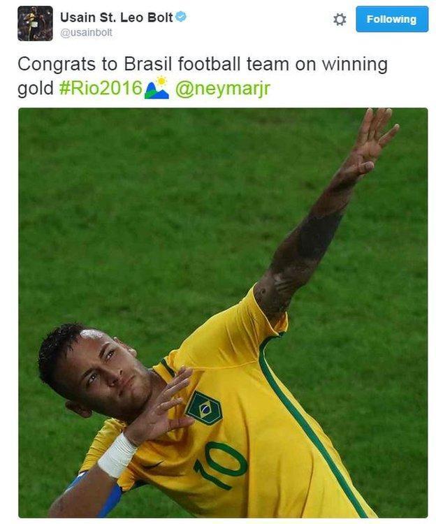 内马尔夺金引关注 博尔特小汉同祝巴西队长