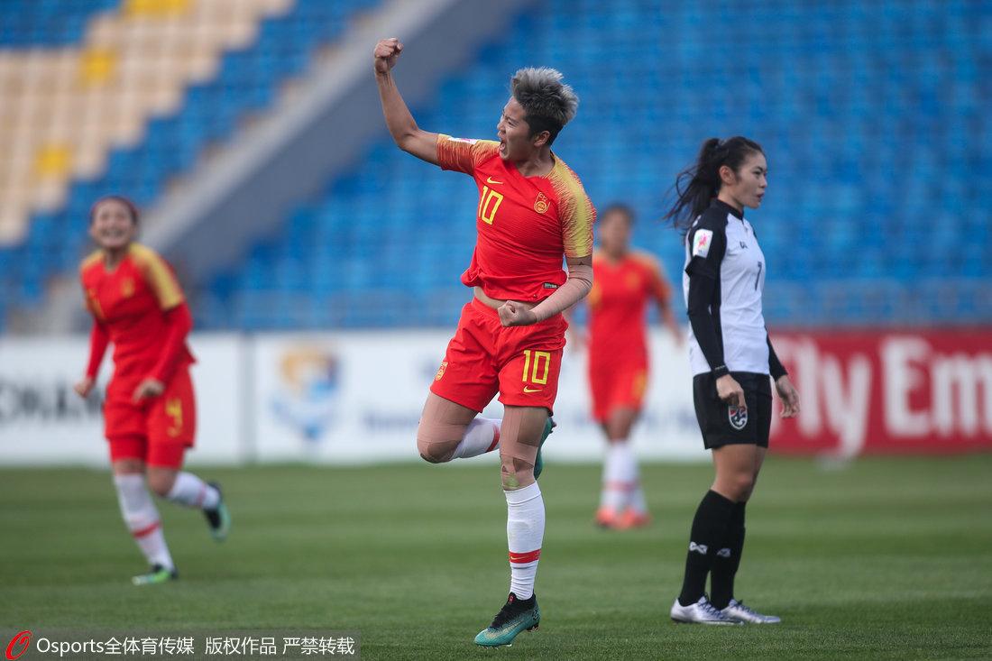 高清:中国女足3-1泰国 李影破门霸气挥拳庆祝