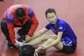 高清:深圳世乒赛热身现意外 武杨脚踝扭伤下场