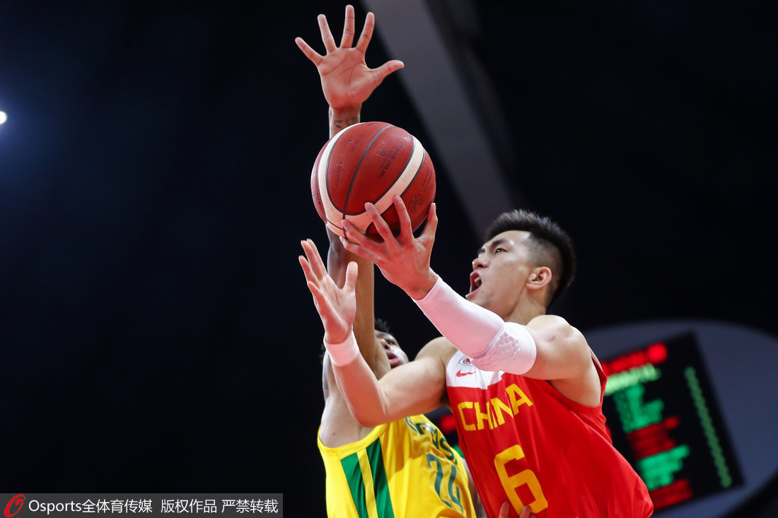 高清:中国男篮不敌巴西 郭艾伦突破无人能挡