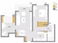 76㎡板板正正2室2厅 空间划分得很好独立性很强