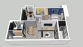78㎡简约二室 书房的折叠床小空间利用出新花样