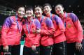 中国乒乓女队横扫日本夺冠 赛后五朵金花露出甜美笑容