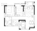 88㎡三室 极简的空间布置素雅精致的软装简洁精致