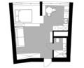 39㎡小公寓地台床+磨砂玻璃屏风 一个人住太棒了