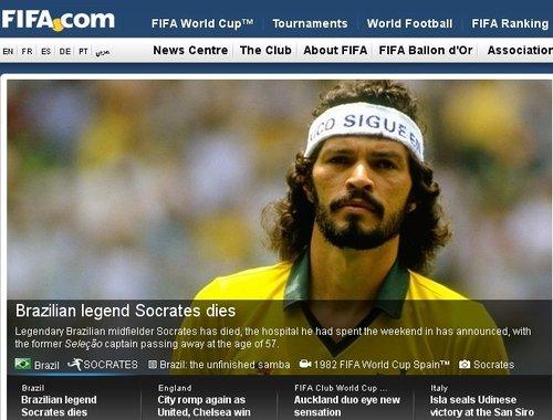 FIFA官网悼念苏格拉底