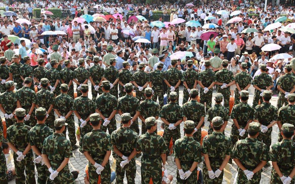 """""""当天的公捕公判行动中,涟钢至少组织了5000人前来参观,附近的湘图片"""