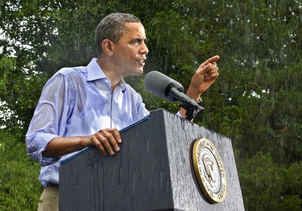 奥巴马冒雨演讲 浑身湿透无人撑伞 - ^o^北斗七星 - 我的博客我做主