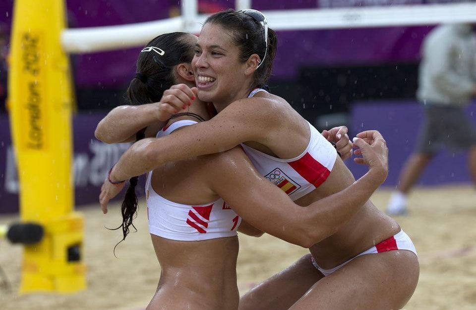 2012年伦敦奥运会,女子沙滩排球比赛.高清图片