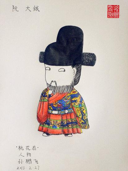 ...系列有趣的手绘图片受到热捧画中人身着汉服q版的表情萌翻...