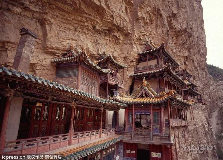 金龙峡.是我国现存时间最早并保存最完成的高空木构摩崖建筑.-