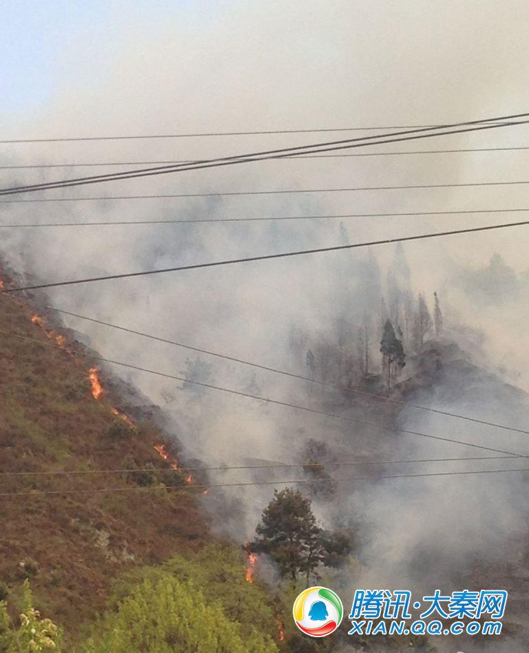 高清 秦岭南五台山林着火 或因上坟引起山火