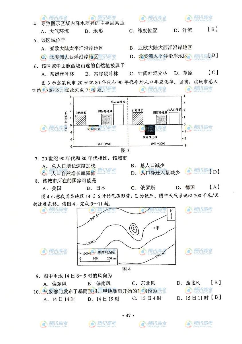 陕西高考文综试题答案2